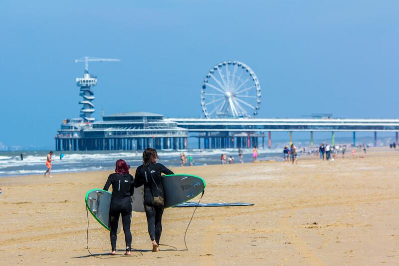 beginnende surfers