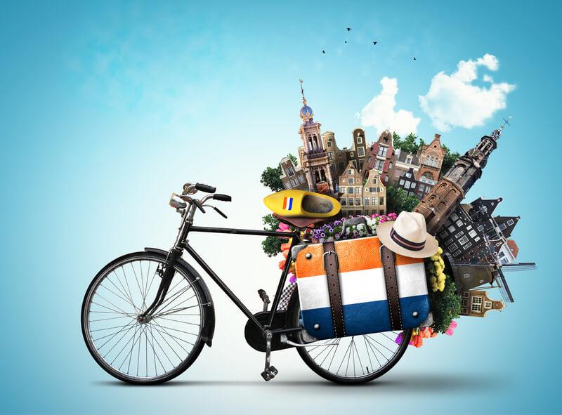 op fietsvakantie in Nederland